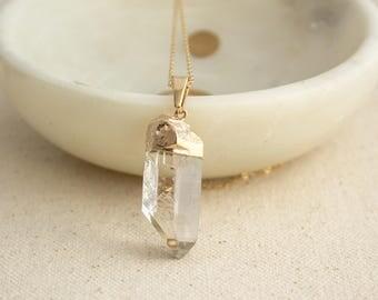 14K Gold Filled Crystal Quartz Point Necklace