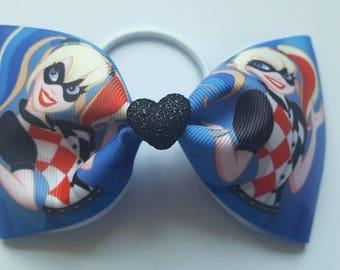 "Large 3"" wide grosgrain ribbon elastic Harley quinn bow measuring 6"""