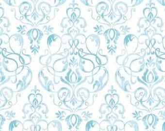 Light blue damask fabric, light blue scroll fabric, blue and white damask fabric