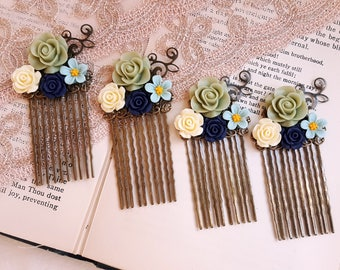 Rustic hair comb Sage green Navy blue flower hair comb Flower Jewelry Flower girl Bridal Bridesmaid accessory