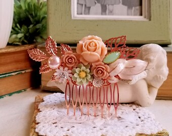Shabby chic pink and mint green flower comb Rustic wedding comb