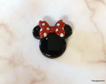 Minnie Mouse Head Lapel Pin With Glitter Bow Brooch Flair Tie Tack Hat Pin