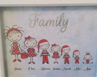 Christmas family box frame. Personalised Customised art box frame.