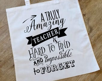 thank you teacher, teacher tote bag, personalised teacher present, teacher gift, teacher appreciation gift, teacher bag, end of term gift,
