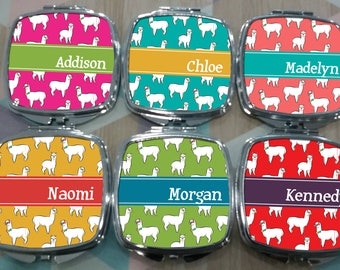 Personalized ALPACA Patterned Compact Mirrors  - Party Gifts, Personalized Gift, Holiday Gifts
