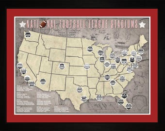 Pro Football League Stadiums Pro Teams Tracking Map | Print Gift Wall Art TFOOT1824-2