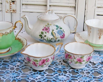 Vintage Mismatched Porcelain Tea Set for 2 Instant Tea Party 7 Pieces Set in Pinks and Greens Luncheon Set Cottage Chic Tea Set