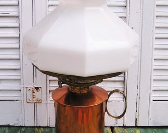 Antique Vintage Plume & Atwood Copper and Brass Oil Lamp Lantern Converted to Electric with Milk Glass Shade and Clear Glass Chimney