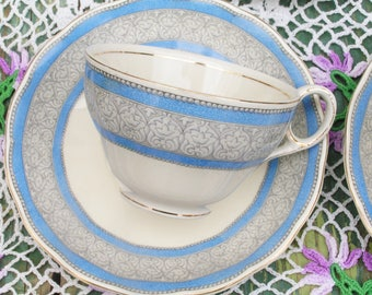 Set of Six Grindley Creampetal Cup and Saucers in Blue Gray and White Tea Party