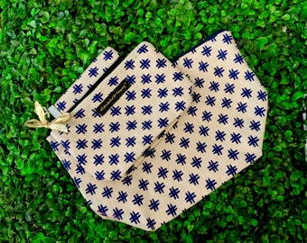 Hashtag this! Cream and Navy hashtag Makeup bags with matching key fob | 3-pc Makeup Bag Set