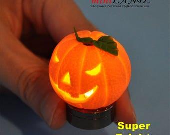 Halloween Pumpkin bright battery LED LAMP Dollhouse miniature 1:12 on/off switch HOP14