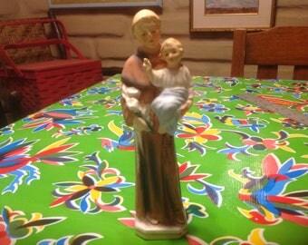 Vintage hand painted Saint Anthony with Jesus ceramic figurine or statuette