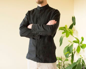 Black linen men's shirt.