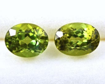 Tourmaline Faceted 8x6mm Ovals  2.85 Carats  Bright Olive Green