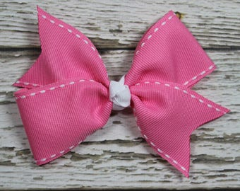 NEW Pink with White Stitching Basic Boutique Hair Bow on Lined Alligator Clip