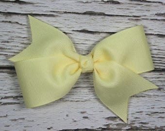 NEW Solid Light Yellow Toddler/Girl Basic Boutique Hair Bow on Lined Alligator Clip