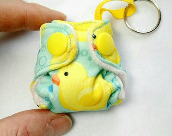 "Pocket Diaper Keychain diaper 2"" mini,  pocket style with insert Duckies print Key chain diaper ornament"