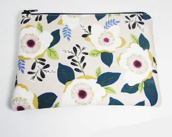 Pink & White Floral Bag - Monogrammed Makeup bag - Personalized Cosmetic Bag - Bridesmaids, Teacher, Dance Team, Birthday Gifts - Medium