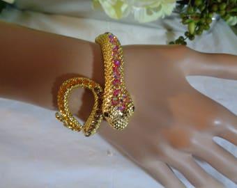Snake Bracelet Pink Aurora Borealis Topaz Yellow Rhinestones Black Eyes Gold Tone Double Hinge Cuff Bracelet
