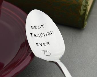 Best Teacher Ever Hand Stamped Vintage Spoon • Stamped Silverware • Teacher Appreciation • End of School Year Gift