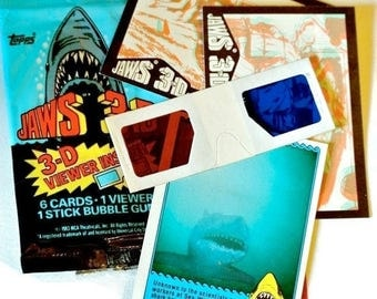 Vintage 1983 JAWS 3D Movie Trading CARDS Topps Pack 3D Viewer Bazooka Bubble Gum Great White Shark Jaws Fan Memorabilia Gift Sealed Package