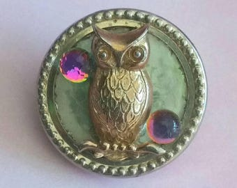 Vintage Upcycled OWL Brooch 3D Purple Full Moon Crystal Broach Hippie Boho Woodland Bird Scarf Hat Lapel Pin Halloween Vintage Jewelry Gift
