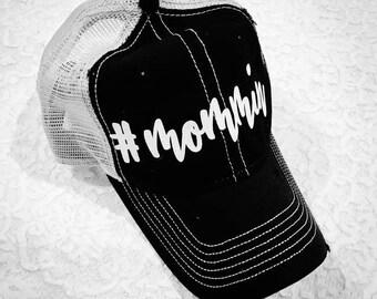 Hat #Mommin' hat in vintage black or vintage white gold or silver glitter letters hashtag mommin #Grammin' hat
