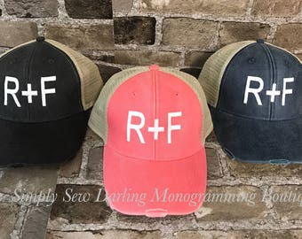 Embroidered Rodan and Fields R + F inspired Distressed Trucker Hat in Several Colors