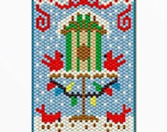 Cardinals in the winter pony bead banner pattern