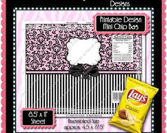 Printable Formal Damask Mini Chip Bag  -  Instant Download (PFD101) Digital Party Graphics - PERSONAL USE Only