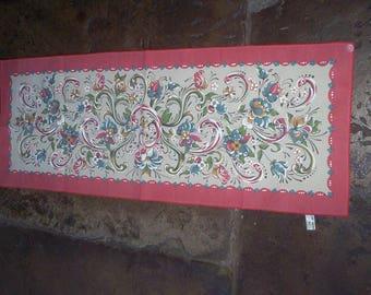 "Norwegian runner Leif Thesen folk art floral 32"" x 12"" Nordic"