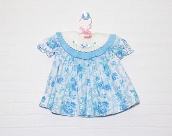 Vintage baby dress, blue floral, no name size 12 mo