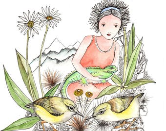 Small brave girl with Rock Wren and Tuatara, water color print