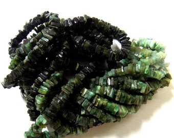 """Emerald Beads, 5-6 mm Size, 12""""- 1 Strand, Cabochon, Square Beads"""