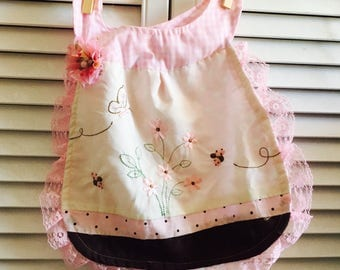 Baby Girl Bib Dress - Reversible Girls Bib that can be worn as a dress - Perfect for Pictures, Birthday, Baby Shower Gifts fits 6-24 months