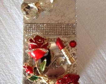 Red Rose Crystal Cigarette Case 100's or king size