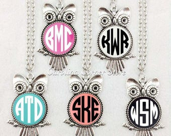 Monogram Owl Necklace
