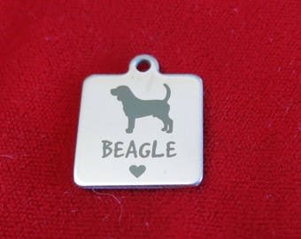 """1pc """"Beagle"""" charms in stainless steel (BC1363)"""