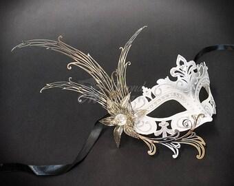 New Masquerade Mask, White/Silver Venetian Masquerade Mask, Silver Masquerade Mask, Mardi Gras Masquerade Mask