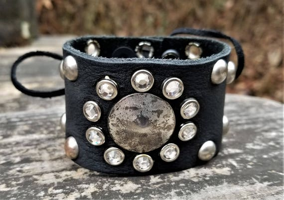 One-of-a-Kind Crystal & Gunmetal Upcycled Leather Wrist Cuff (Medium)