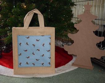 Robins Jute Bag, Christmas Robin Bag, Robin Bag, Christmas Robins Jute Bag, Christmas Bag, Robin Gift Bag, Hamper Gift Bag, Handmade Bag