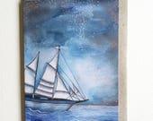 Greeting Card, A6. Watercolour Sailing Boat Artwork. Sail Boat Painting. Artwork by Jennifer Magno on Etsy.