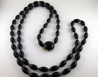 Large Beaded Black Victorian Morning Necklace 26 inches