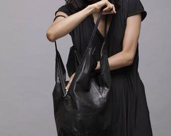 Black Leather Tote Bag - Soft Leather Bag - Shoulder Bag - Every Day Bag - Sac Bag - Women Bag - Office Bag - Charley Bag