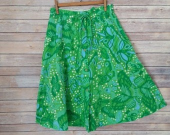 Butterflies! Vintage A-line Skirt Green/Blue Print Button Front Beauty! Size M