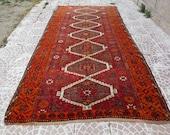 Oushak vintage Runners rug ,Turkish Anatolian rug, faded oushak rug ,Hand made rug floor living room rug  5x10feet