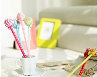 Cute fabric ribbon lollipop pen (Pair) - nice back to school gifts for kids