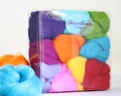 Brights Wool Bundle - Felting Wool - bright needle felting wool - mixed bright wool - textile project - craft gift - merino wool