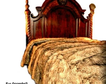 Plush Faux Fur Bedspread - Comforter - Throw Blanket - Light Wolf Brown Shag - Soft Minky Cuddle Fur Lining Fur Accents Original Designs USA
