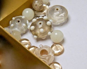 Beads, glass beads, beads Pearl, beige, white, transparent, lot
